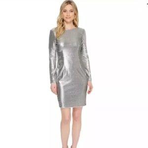Aidan Mattox Silver Sequin Sheath Dress Size 8
